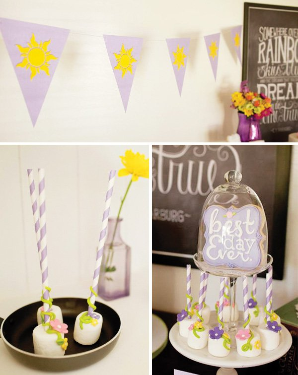 lavender and yellow garland and marshmallow cake pops for tangled birthday party