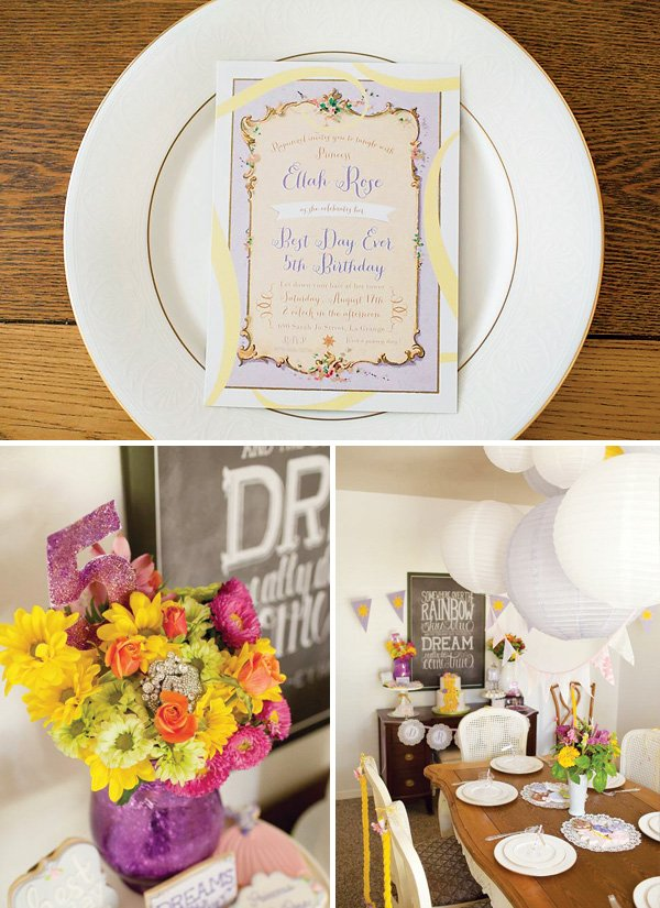 tangled birthday party invitations and flower centerpiece with brooch
