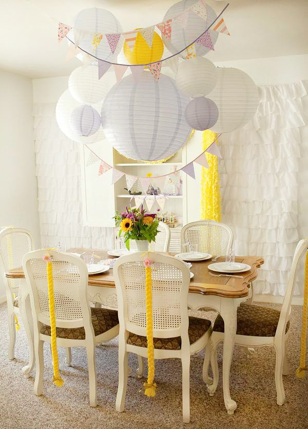 tangled birthday party table inspired by rapunzel