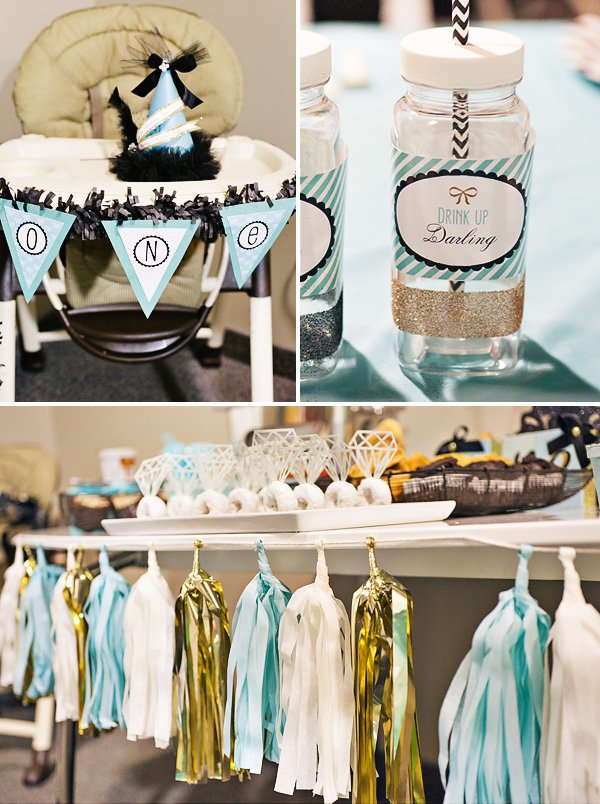 tissue tassel bunting in gold and teal