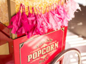 popcorn machine with pink tassels