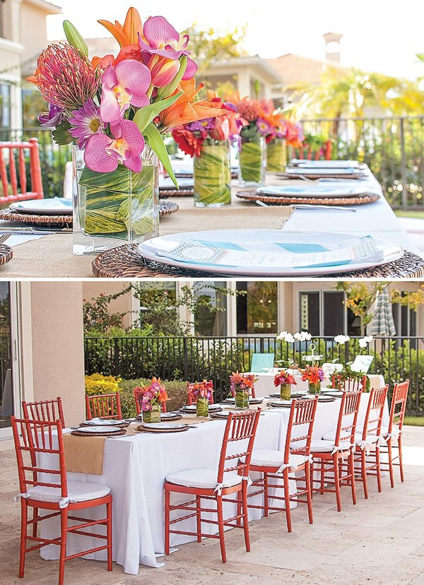 beautiful tropical party tablescape and floral centerpiece