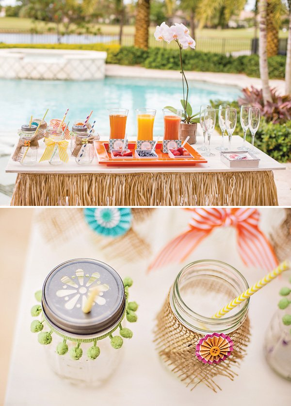 Tropical Brunch Drink Station and Mason Jars