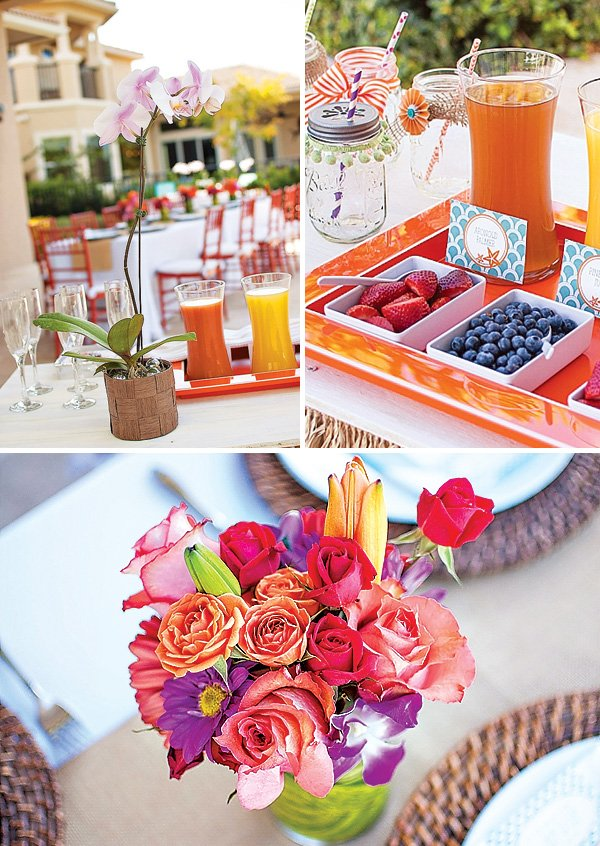tropical flower centerpieces and drinks