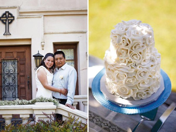 white rose ruffle cake