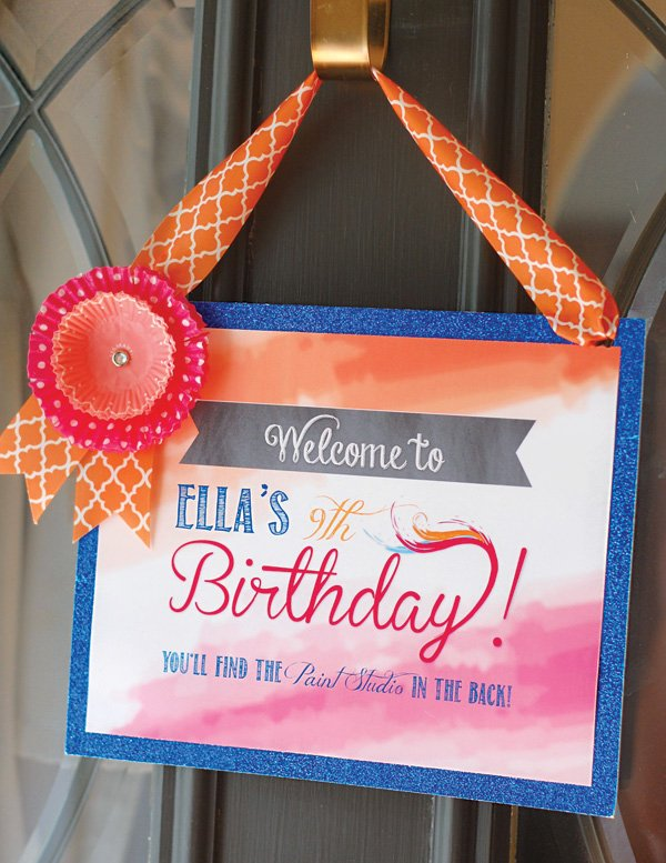 watercolor party welcome sign
