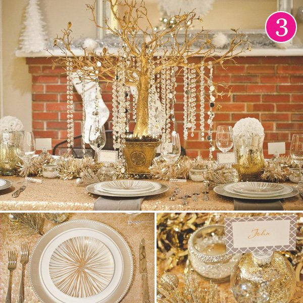 glam gold & white holiday table