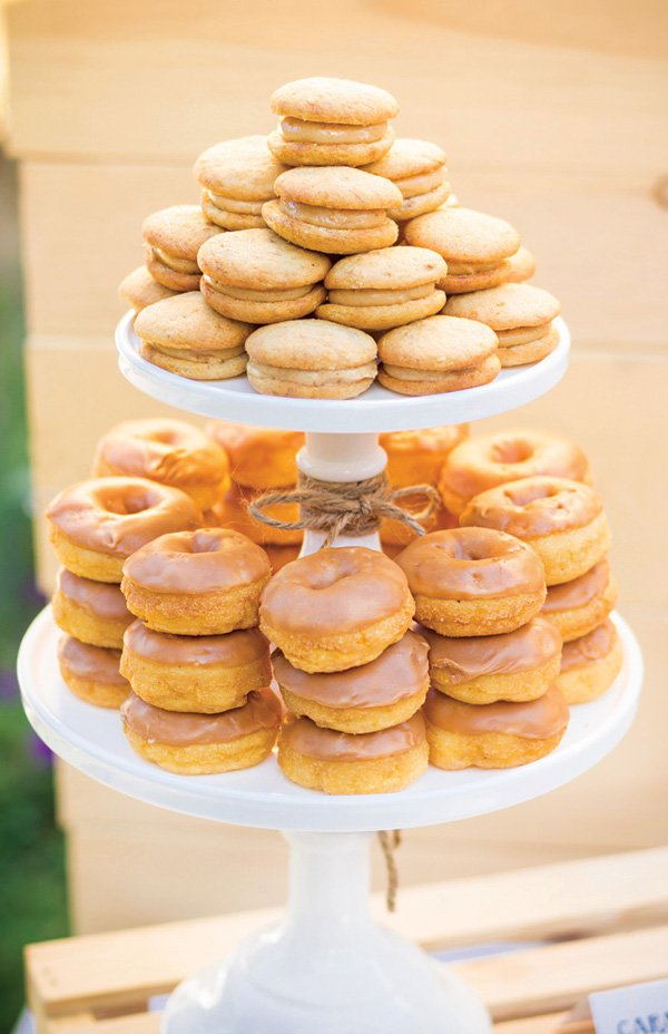 whoopie pie and doughnut tower display