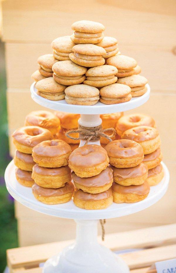 whoopie pie and doughnut tower display