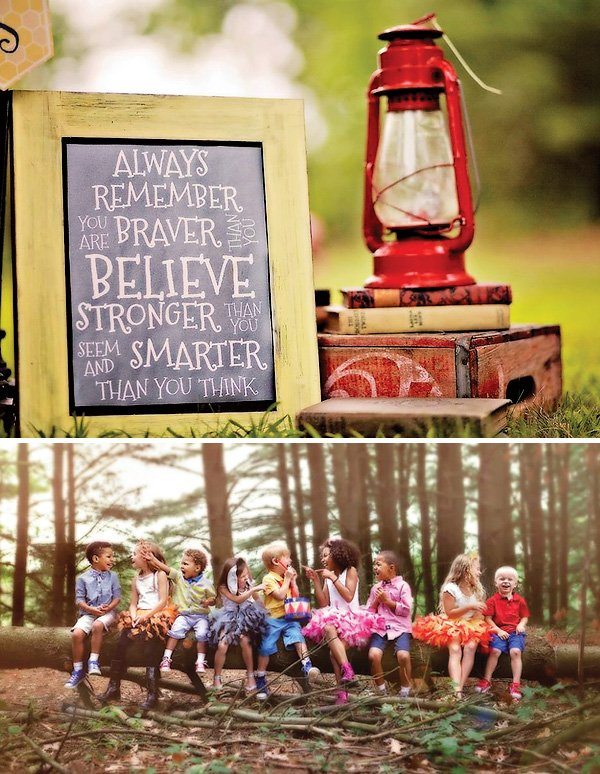 winnie the pooh party printables and a red lantern on a stack of books