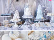 Silver Blue Winter Woodland Dessert Table