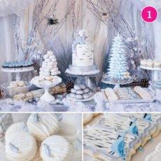 Silver Blue Winter Woodland Dessert Table