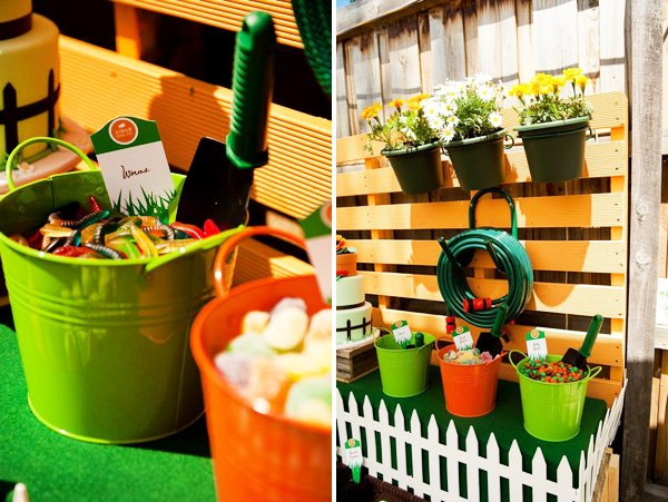 candy filled planter buckets