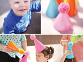 Kids in pink, orange, blue and green pom-pom party hats