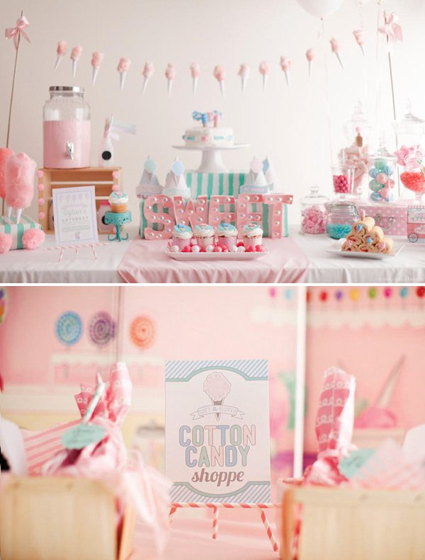 cute, pink cotton candy shoppe birthday party for girls