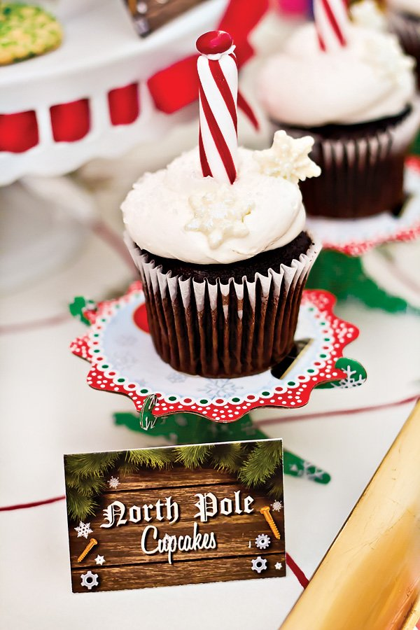north pole cupcakes - christmas birthday party