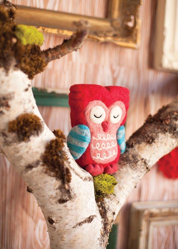 handmade red felt owl in a tree