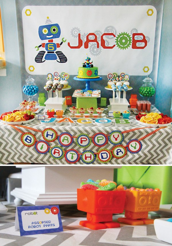 robot themed birthday party and dessert table