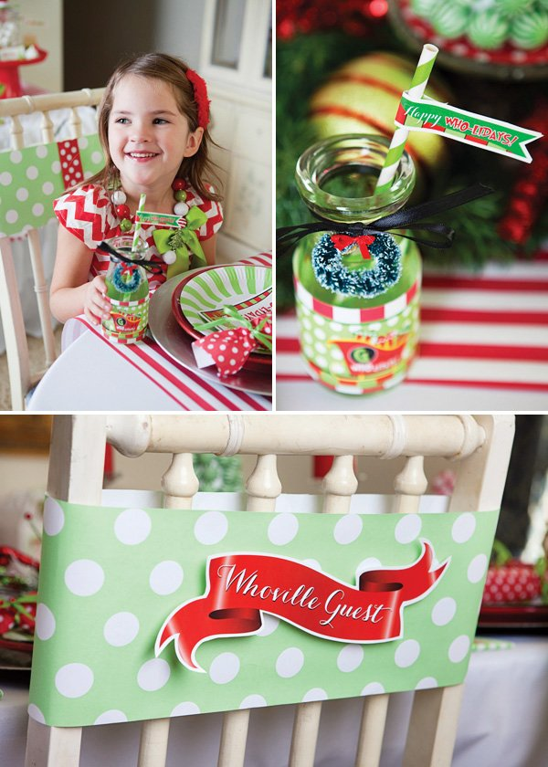a christmas party with a grinch theme and red and green printables and decorations