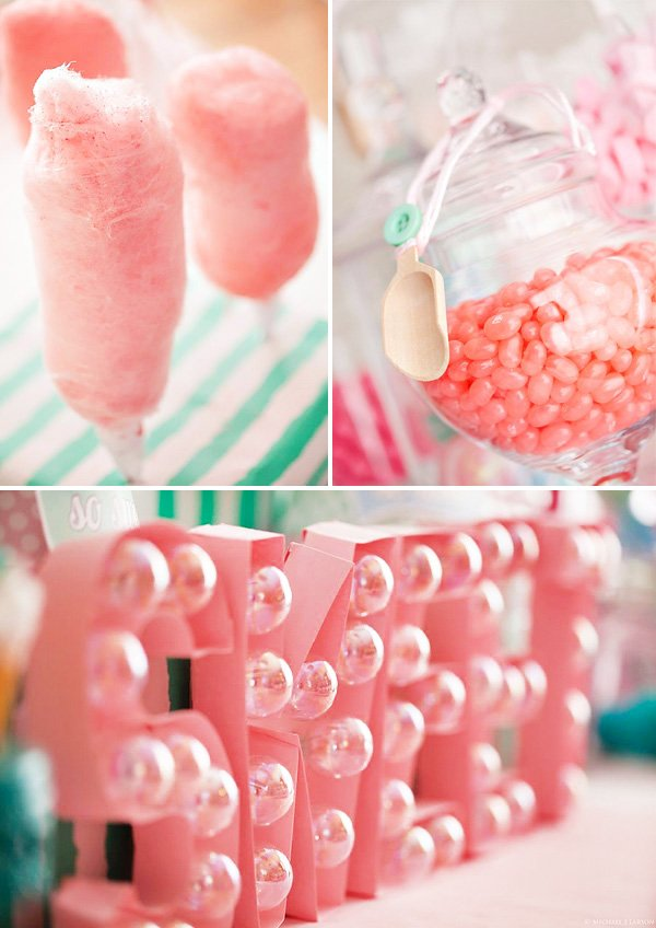 cotton candy shoppe pink sweets station dessert table decorations with light bulb SWEET marquee sign