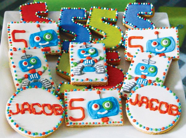 robot iced birthday party sugar cookies