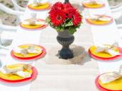 rustic red yellow birthday tablescape
