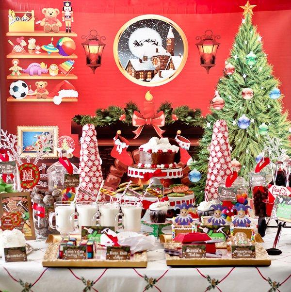 Santa's Workshop themed dessert table