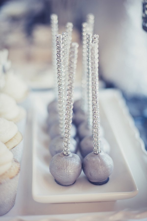 silver cake pops with bling sticks