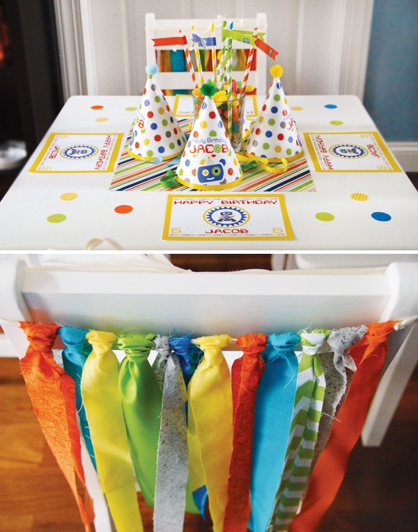 colorful boys birthday tablescape and chair backs