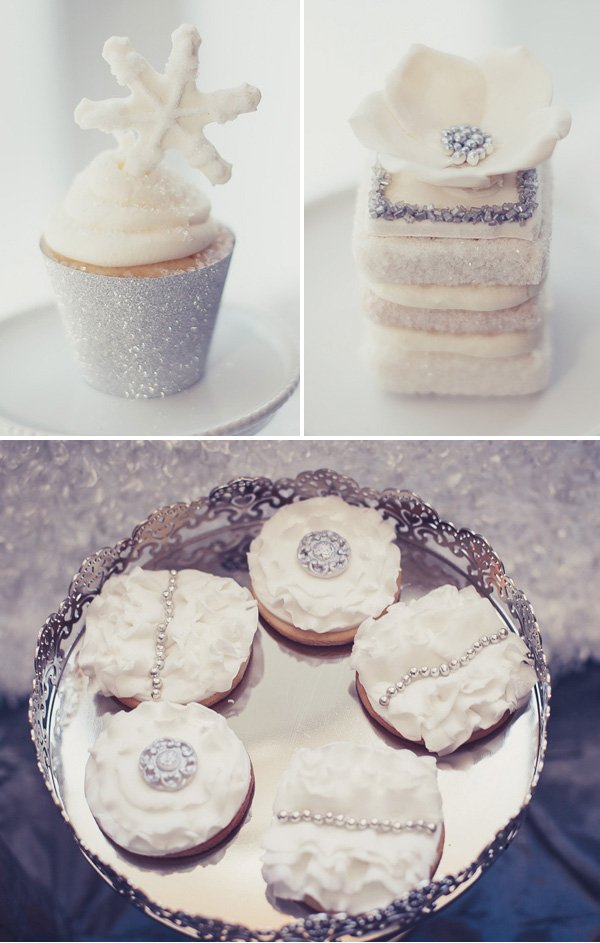 silver and white desserts