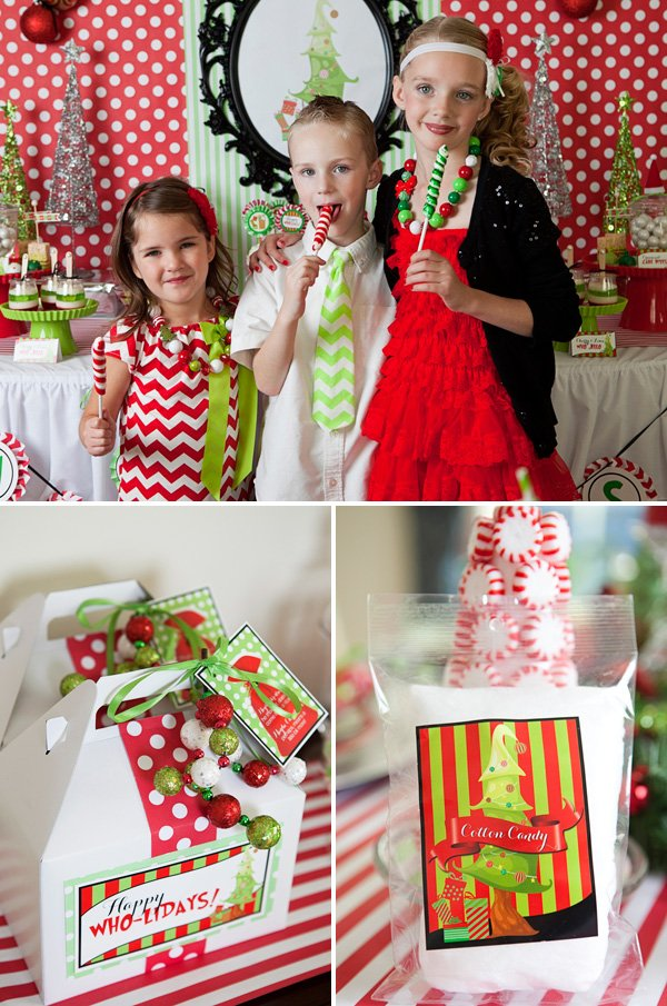 grinch inspired red and green christmas party holiday favors