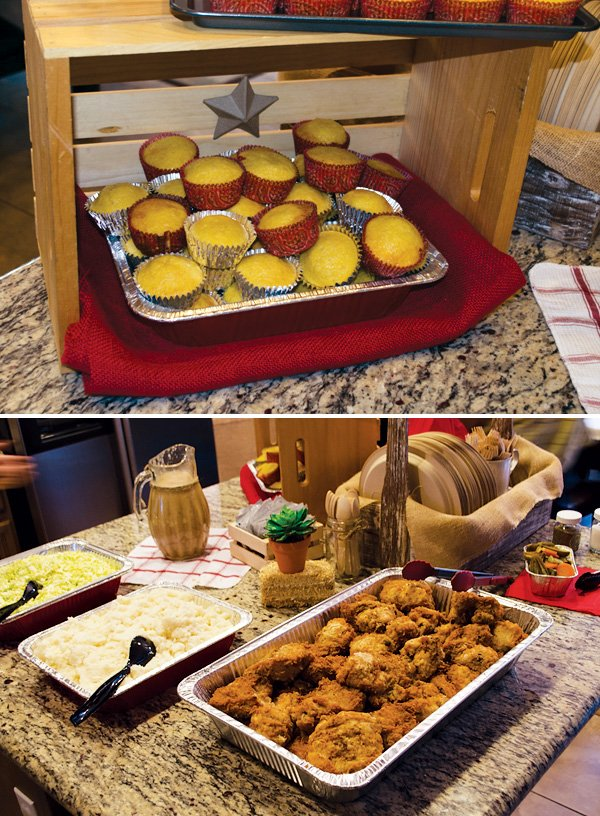 western cowboy party food with corn bread and fried chicken