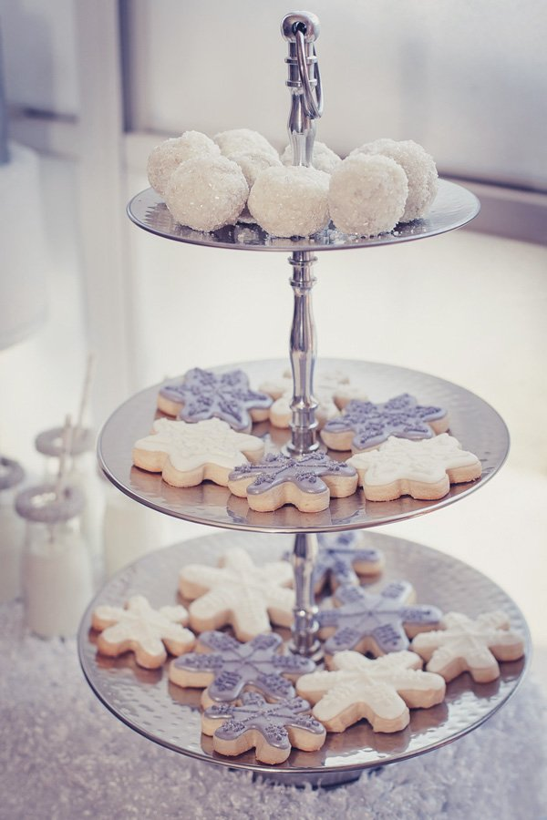 silver and white snowflake cookies