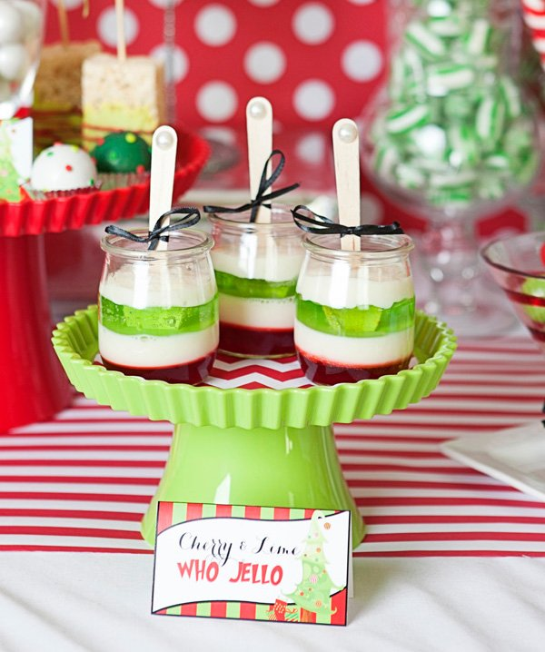 layered red and green christmas jello parfaits for a grinch inspired holiday party