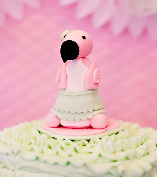 mint tutu wearing baby pink flamingo fondant cake topper