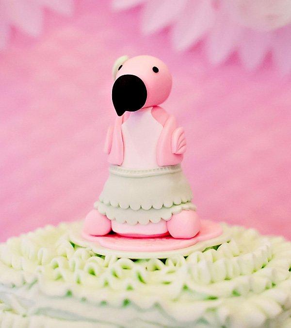 mint tutu wearing baby pink flamingo fondant cake topper