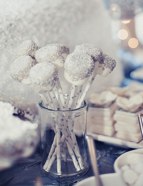 silver and white wonderland marshmallow pops