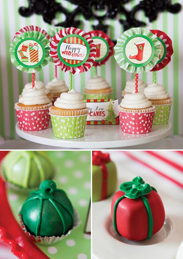 grinch inspired christmas party desserts like cupcakes and cake bites