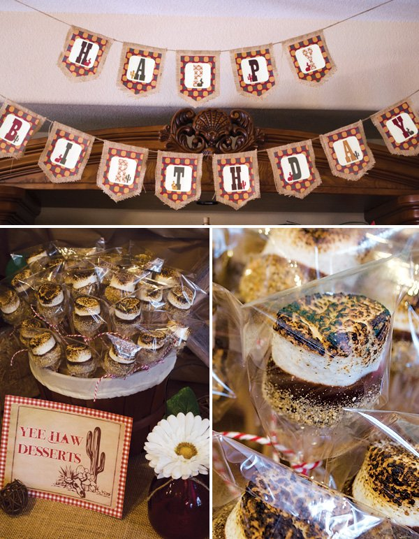 s'mores pops and burlap garland