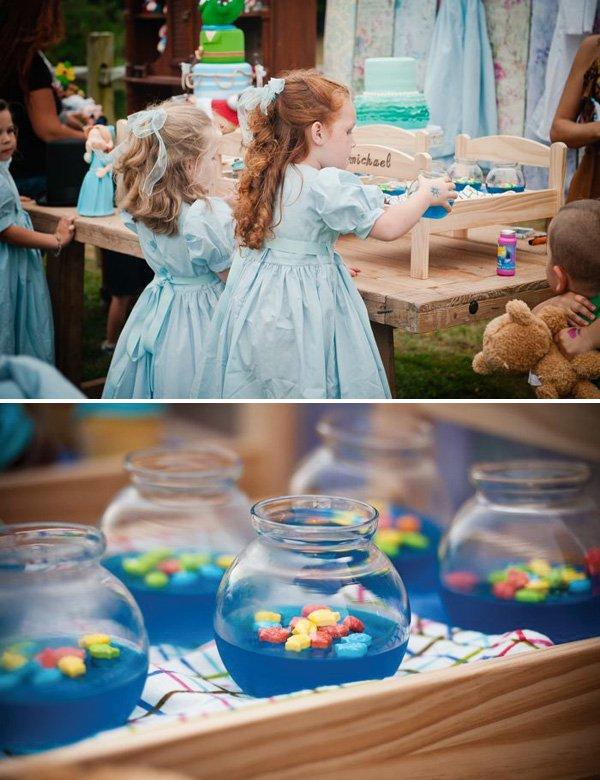 blue jello fishbowls as peter pan party treats