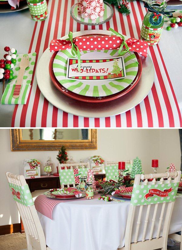 red and green grinch christmas table setting for a holiday party