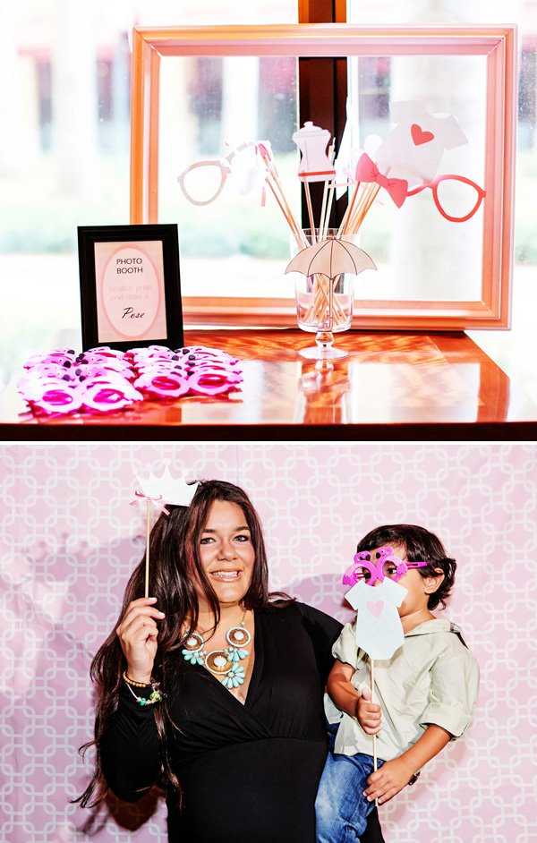 diy pink baby shower photo booth with flamingo glasses