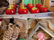 western cowboy party decorations with boots and red candy apples