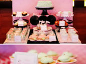 pink flamingo baby shower cupcake and dessert table