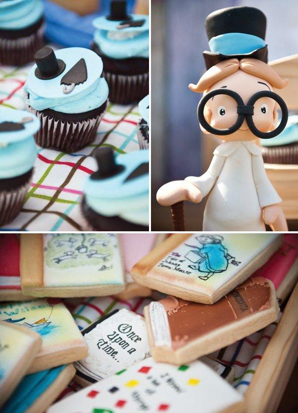 peter pan cupcakes and book cookies