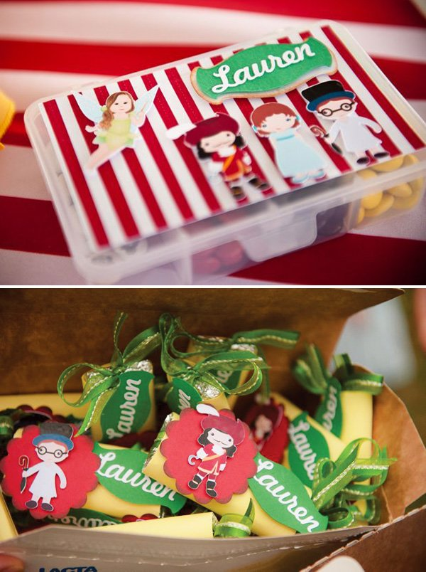 peter pan party favors from the birthday girl as tinkerbell