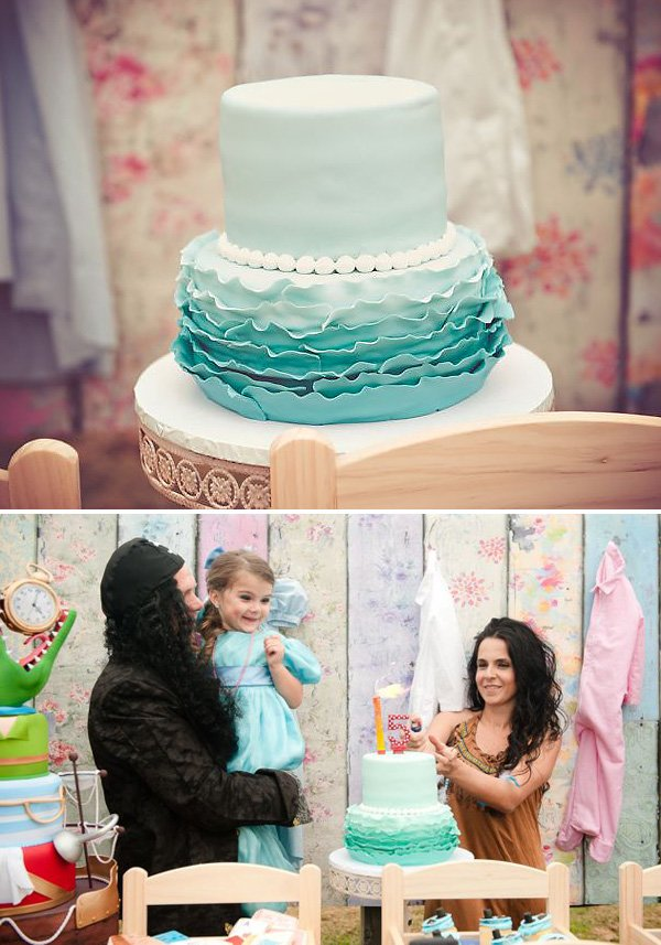 blue ombre pearl and ruffle cake for peter pan birthday