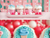 cotton candy fondant iced cupcakes for a birthday party
