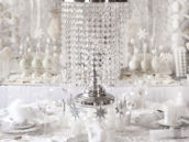 crystal chandelier centerpiece for an all white bridal shower or christmas party