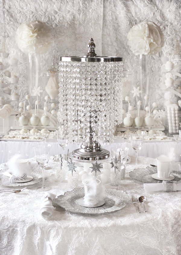83b0bd7acbf crystal chandelier centerpiece for an all white bridal shower or christmas  party
